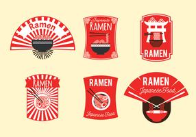 Insieme dell'illustrazione del distintivo di ramen giapponese nella priorità bassa marrone