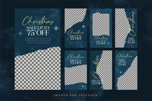 set di modelli di social media di vendita di moda natalizia vettore