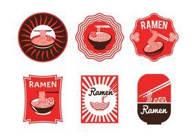 Insieme dell'illustrazione giapponese di lusso del distintivo di ramen isolata nel fondo bianco