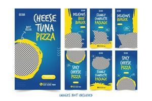 banner di fast food per set di modelli di pubblicità sui social media vettore