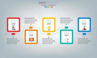 elementi di infografica aziendale con 5 opzioni o passaggi.