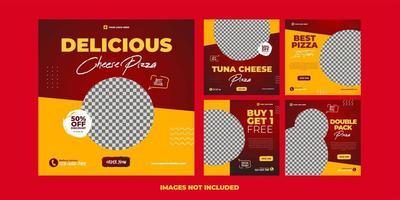 modello di pizza per la pubblicità sui social media vettore