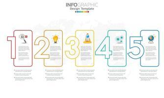 elementi di infografica aziendale con 5 sezioni o passaggi
