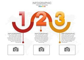 modello di infografica vettoriale con tre opzioni e icone.