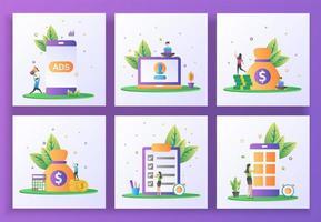 set di concept design piatto. pubblicità, account utente, riproduzione video, contabilità, controllo documenti vettore