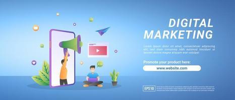 concetto di marketing digitale. le persone pubblicizzano prodotti sui social media, condividono video promozionali vettore