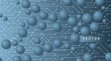 sfondo astratto tecnologia vettoriale. cerchio blu con una linea di collegamento sullo sfondo. futuro design della tecnologia del circuito 3d vettore
