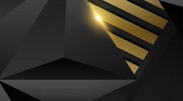 poligono nero grigio con sfondo effetto luce oro vettore