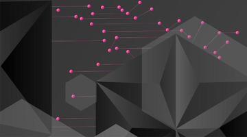 sfondo geometrico astratto vettoriale. modello poligonale vettoriale grigio scuro e punti collegati a linea rosa