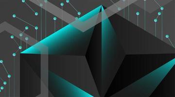 sfondo geometrico astratto vettoriale. modello poligonale vettoriale grigio scuro e punti collegati linea blu
