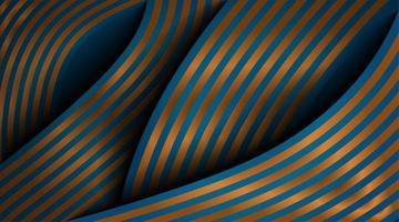 Progettazione astratta moderna dell'onda di vettore 3D. linee di trama oro e sfondo blu scuro