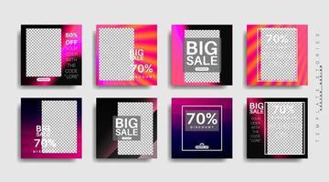 banner web quadrato di promozione moderna per l'illustrazione di progettazione di vettore di media sociali