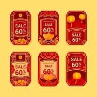 etichetta di offerta di vendita di capodanno cinese vettore