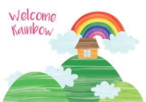Casa con sfondo arcobaleno