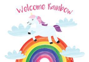 unicorno in piedi sull'arcobaleno vettore