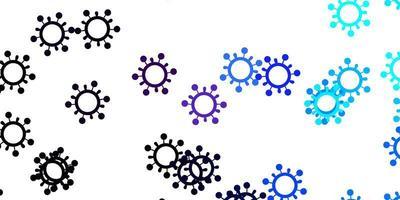 sfondo vettoriale rosa chiaro, blu con simboli di virus.