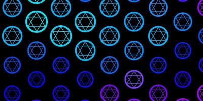modello vettoriale rosa scuro, blu con segni esoterici.