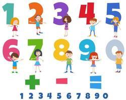 numeri educativi impostati con personaggi di bambini felici vettore