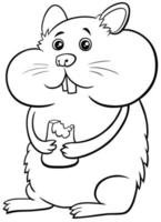 cartone animato criceto fumetto carattere animale libro da colorare pagina vettore