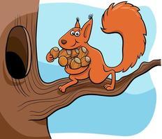 scoiattolo cartone animato che trasporta ghiande nella cavità vettore