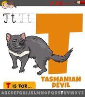 lettera t da alfabeto con cartone animato diavolo della Tasmania animale vettore