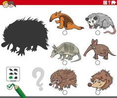 compito di ombre con personaggi di animali selvatici dei cartoni animati vettore