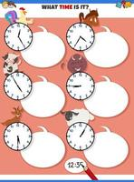 raccontare il compito educativo del tempo con animali da fattoria dei cartoni animati vettore