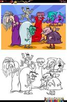 mostri dei cartoni animati personaggi di fantasia da colorare pagina del libro vettore