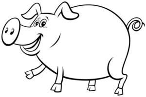 cartone animato maiale fattoria carattere animale libro da colorare pagina vettore