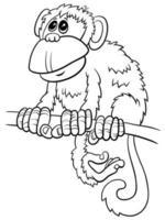 Cartoon monkey fumetto carattere animale libro da colorare pagina vettore