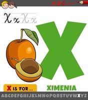 foglio di lavoro lettera x con frutta ximenia dei cartoni animati vettore