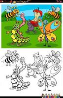 cartone animato divertente gruppo di insetti da colorare pagina del libro vettore