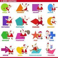 forme geometriche di base con set di caratteri di Babbo Natale vettore