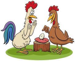 Gallo e gallina con illustrazione di cartone animato uovo vettore