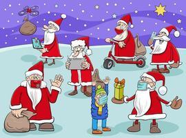 gruppo di personaggi dei cartoni animati di Babbo Natale nel periodo natalizio