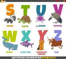 alfabeto del fumetto educativo impostato con personaggi animali vettore