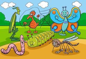 gruppo di personaggi dei cartoni animati di insetti e insetti felici vettore