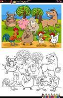 cartone animato fattoria animali gruppo libro da colorare pagina vettore