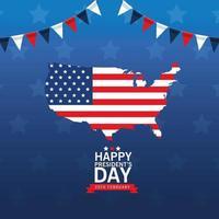 felice poster del giorno dei presidenti con mappa e bandiera degli Stati Uniti vettore