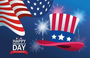 felice poster del giorno dei presidenti con cappello a cilindro e bandiera degli Stati Uniti vettore