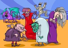 mostri e spaventi gruppo fumetto illustrazione vettore