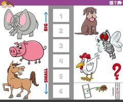 compito educativo con animali grandi e piccoli per bambini vettore
