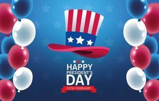 felice giorno dei presidenti poster con cappello e palloncini vettore