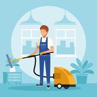 operaio maschio di pulizie con aspirapolvere vettore