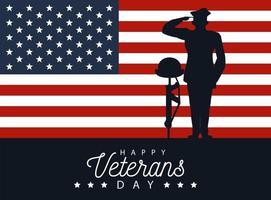 scritta felice giorno dei veterani sul poster con ufficiale militare e casco sul fucile vettore