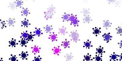sfondo vettoriale viola chiaro, rosa con simboli covid-19.