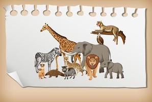 gruppo di animali selvatici africani su carta vettore
