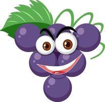 personaggio dei cartoni animati di uva con espressione faccia felice su sfondo bianco vettore