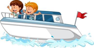 bambini in piedi su un motoscafo su sfondo bianco vettore
