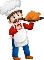 chef uomo con pollo vassoio personaggio dei cartoni animati isolato su sfondo bianco vettore